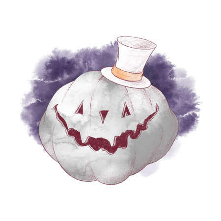 Cute character pumpkin scarecrow, watercolor illustration for Halloween 免版税图像