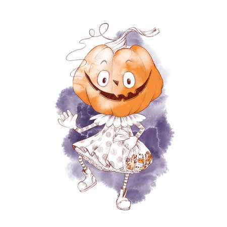 Cute character girl pumpkin scarecrow, watercolor illustration 免版税图像