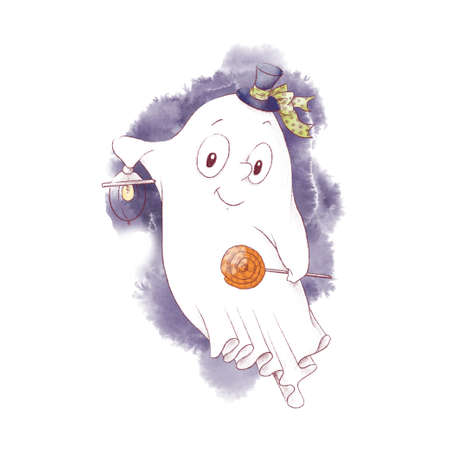 Cute character Ghost, watercolor illustration for Halloween 免版税图像