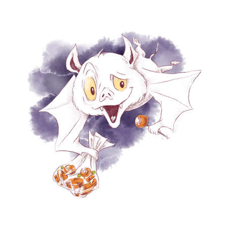Cute bat character, watercolor illustration for Halloween 免版税图像