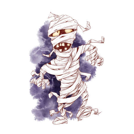 Cute mummy character, watercolor illustration for Halloween