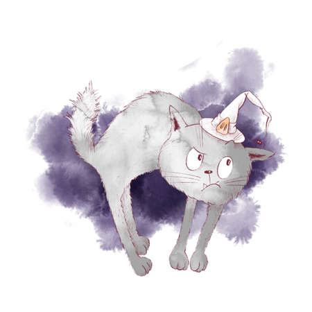 Cute character witch cat, watercolor illustration for halloween