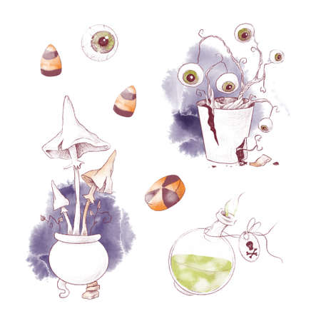 Cute witch stuff set, watercolor illustration for Halloween