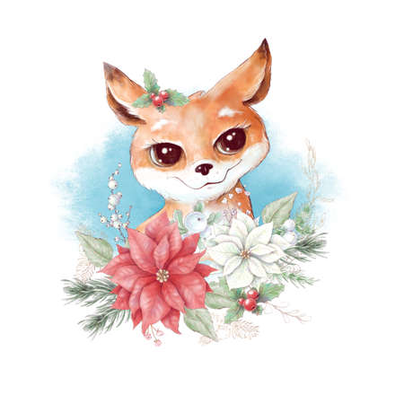 Watercolor christmas character fox. Holiday decor elements for the New Year