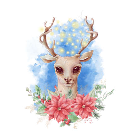 Watercolor christmas character deer. Holiday decor elements for the New Year 免版税图像