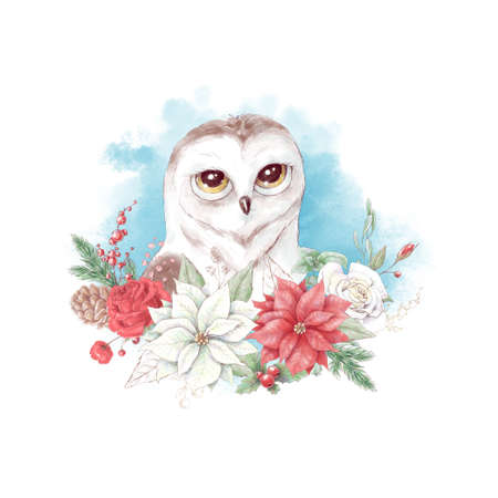 Watercolor christmas character owl. Holiday decor elements for the New Year 免版税图像