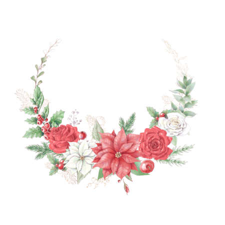 Watercolor Christmas wreath with poinsettia flowers. Holiday decor elements for the New Year 免版税图像