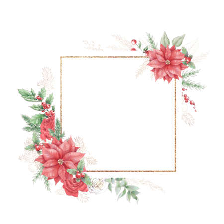 Watercolor Christmas golden frames with flowers roses and poinsettia. Holiday decor elements for the New Year 免版税图像