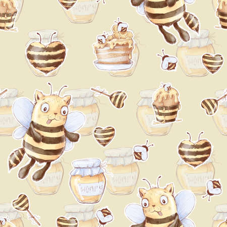 Seamless pattern of cartoon cute bee cats. Watercolor illustration
