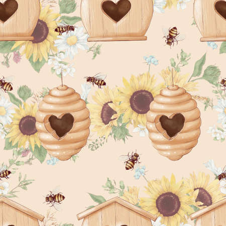 Bees and sunflowers seamless pattern. Watercolor illustration