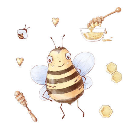 Set of Cartoon bee honey sweets honeycomb. Watercolor illustration