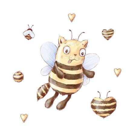 Set of Cartoon cat bee honey sweets honeycomb. Watercolor illustration