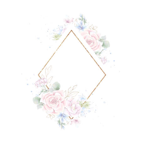 Gold geometric frame with roses. Watercolor illustration