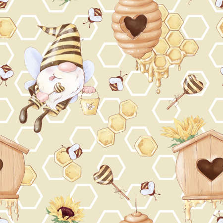 Seamless pattern Cartoon cute gnome bee collects honey. Watercolor illustration