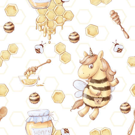 Seamless pattern Cartoon unicorn bee collects honey. Watercolor illustration
