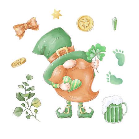 Gnome St. Patricks Day. Watercolor illustration 免版税图像