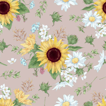 Sunflowers seamless pattern. Watercolor illustration