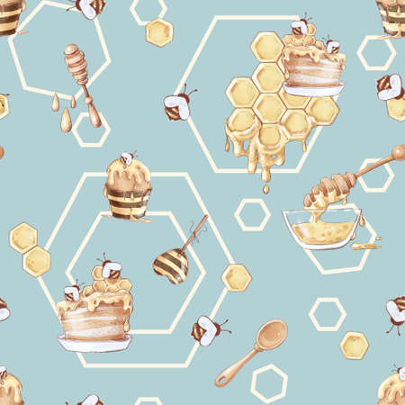 Honey bee honeycomb sweets seamless pattern. Watercolor illustration 免版税图像
