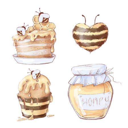 Honeycomb sweets set. Watercolor illustration 免版税图像