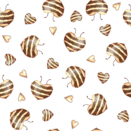 Cartoon cute bees seamless pattern. Watercolor illustration