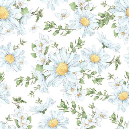 Chamomile seamless pattern. Watercolor illustration 免版税图像