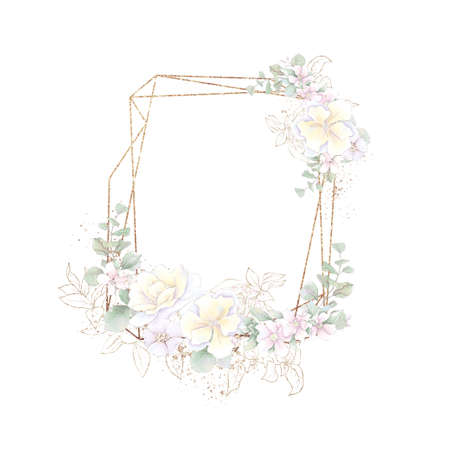 Gold geometric frame with orchids. Watercolor illustration
