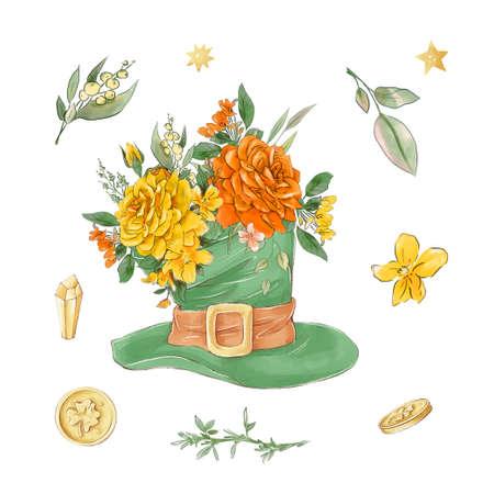 Saint Patricks day elements set. Watercolor illustration 免版税图像