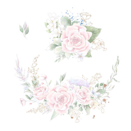 A set of a wreath of delicate roses and orchids. Watercolor illustration