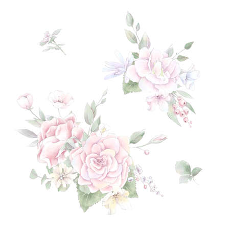 A set of bouquet of delicate roses and orchids. Watercolor illustration