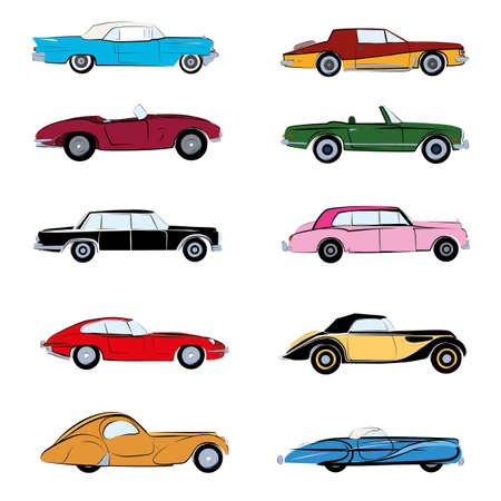 Retro cars sketch and flat vector illustration. Poster and icon illustration isolated Vettoriali
