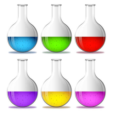 Set glass laboratory flask round bottom with colored liquid. Vector images isolated on a transparent background