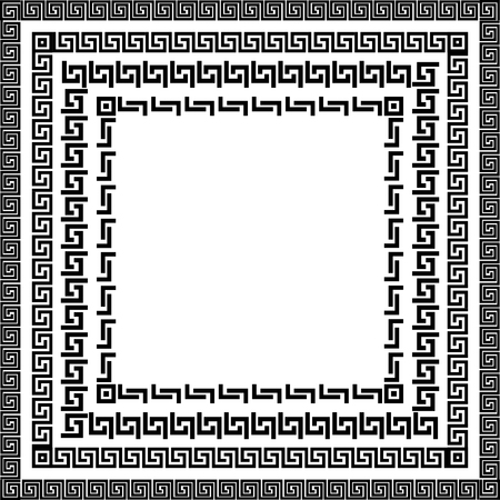 Traditional simple meander. Black and white square frame. Ancient Greek ornament. Vector.