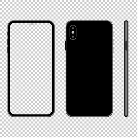 Illustrazione di mockup di smartphone con schermo trasparente. Vista anteriore, posteriore e laterale. Vettore.