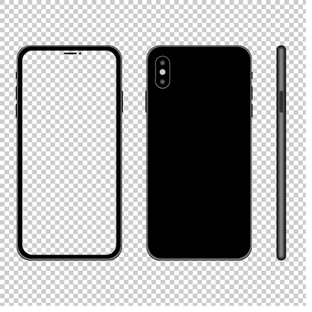 Smartphone mockup illlustration with transparent screen. Front, back and side view. Vector.