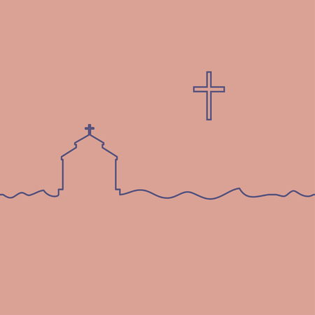 Protestant temple and cross. One line drawing. Vector. Vectores