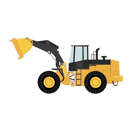 Geïsoleerde wiellader, transport en logistiek bedrijf. Vector.