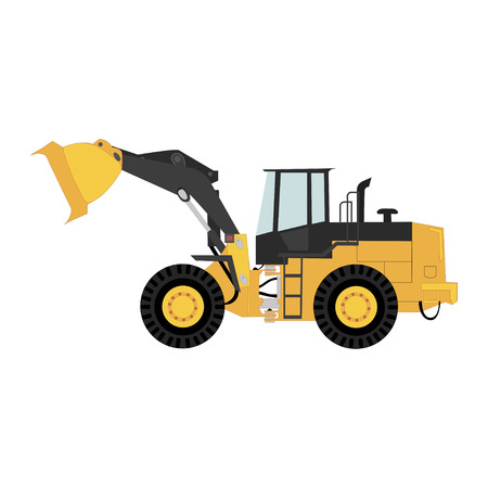 Isolated wheel loader, transportation and logistics business. Vector.