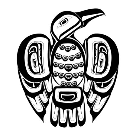 Haida bird tattoo. Ornament in haida style. Isolated bird on white background. Black monochrome. Vector.