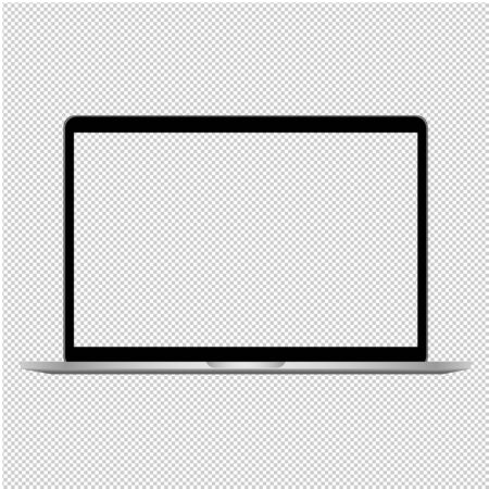 Laptop mockup illlustration with transparent screen.  Computer notebook with empty screen. Vector. Ilustrace
