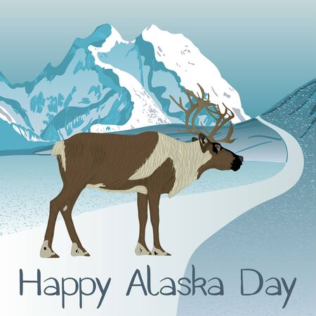 Alaska Day holiday. Template for greeting card. Animals of Alaska.  Vector.