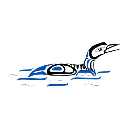 Haida duck tattoo. Ornament in haida style. Isolated bird on white background. Black and blue color. Vector. Vector Illustration