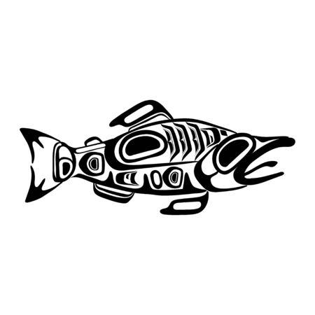 Haida fish tattoo. Ornament in haida style. Isolated fish on white background. Black monochrome. Vector. Vector Illustration