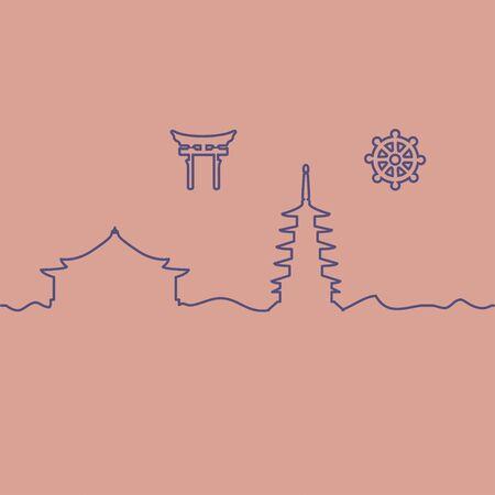 Japanese temple and symbol. One line drawing. Vector. Ilustração