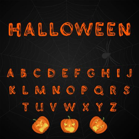 Halloween. Brush painted alphabet. Vector.