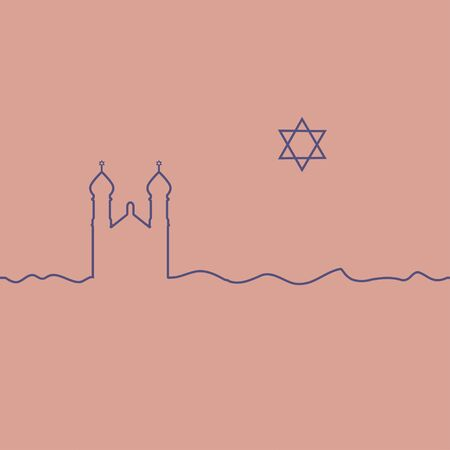 Judaism synagogue and David Star. One line drawing. Vector. Stock fotó - 129676386