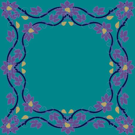 Medieval floral frame with bunch of grapes, grape leaves, swirls. Vector.