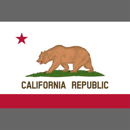 California State Flag 1953. Digital reproduction. Grizzly Bear Flag. Vector.