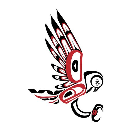 Haida owl tattoo. Ornament in haida style. Isolated bird on white background. Black and red color. Vector. Vector Illustration