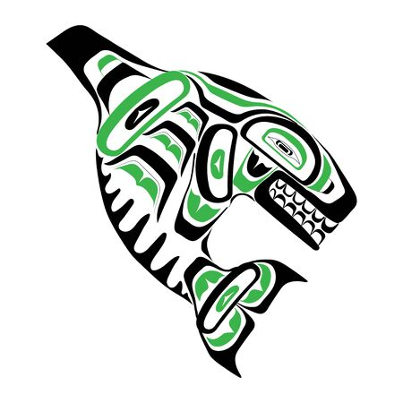 Haida killer whale tattoo. Ornament in haida style. Isolated fish on white background. Black and green color. Vector.