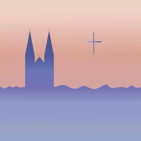 Catholic temple and cross. Vector. Ilustração